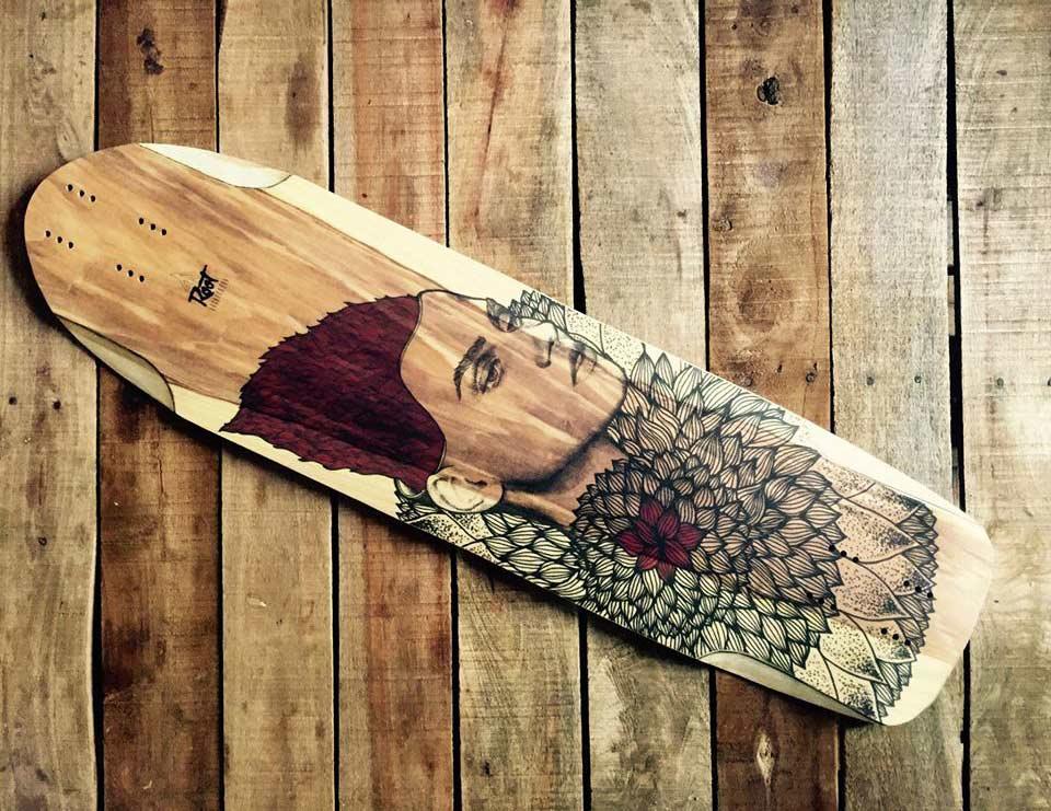 Nymphaea longboard deck by Root Longboards