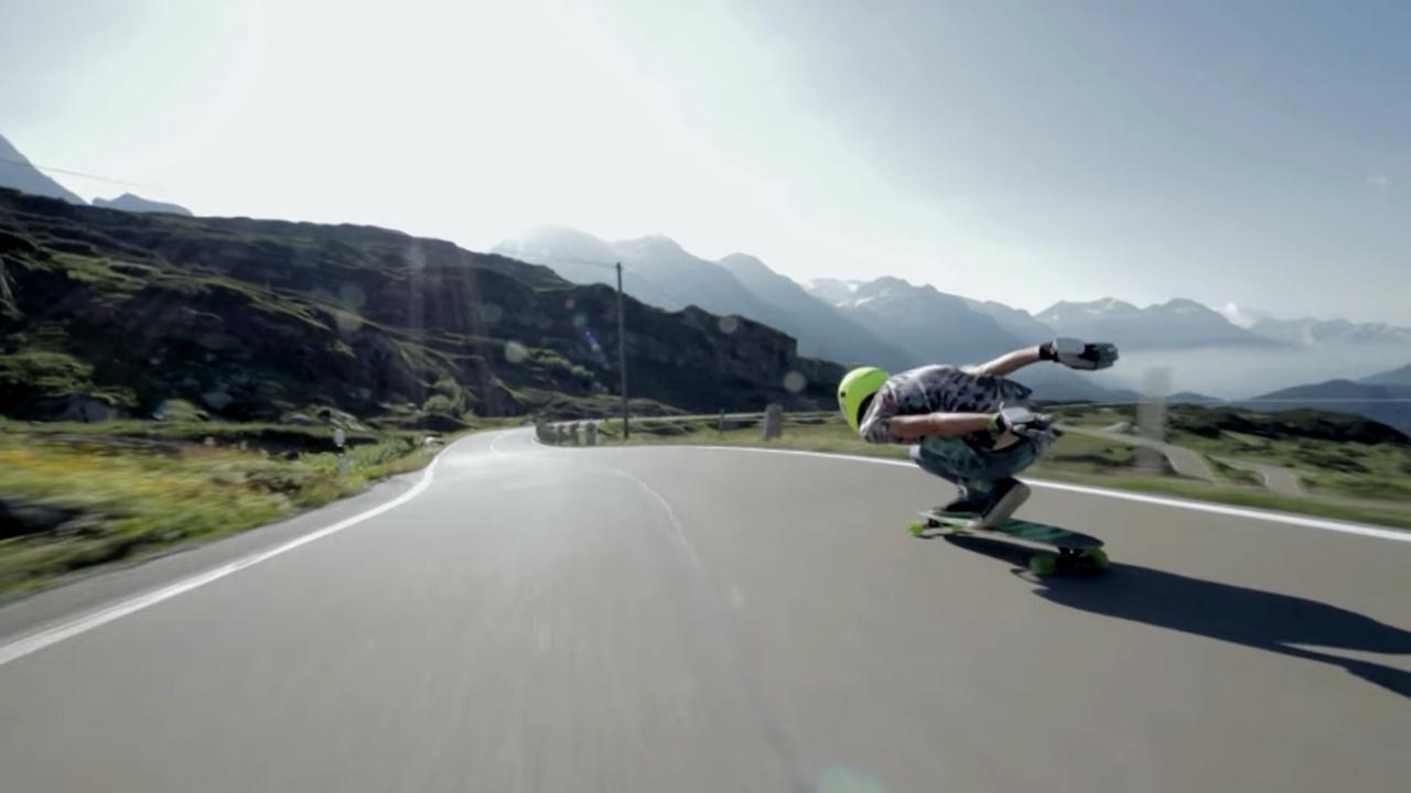 Lillian Barou enjoying Switzerland on his Wrobel Alternative longboard