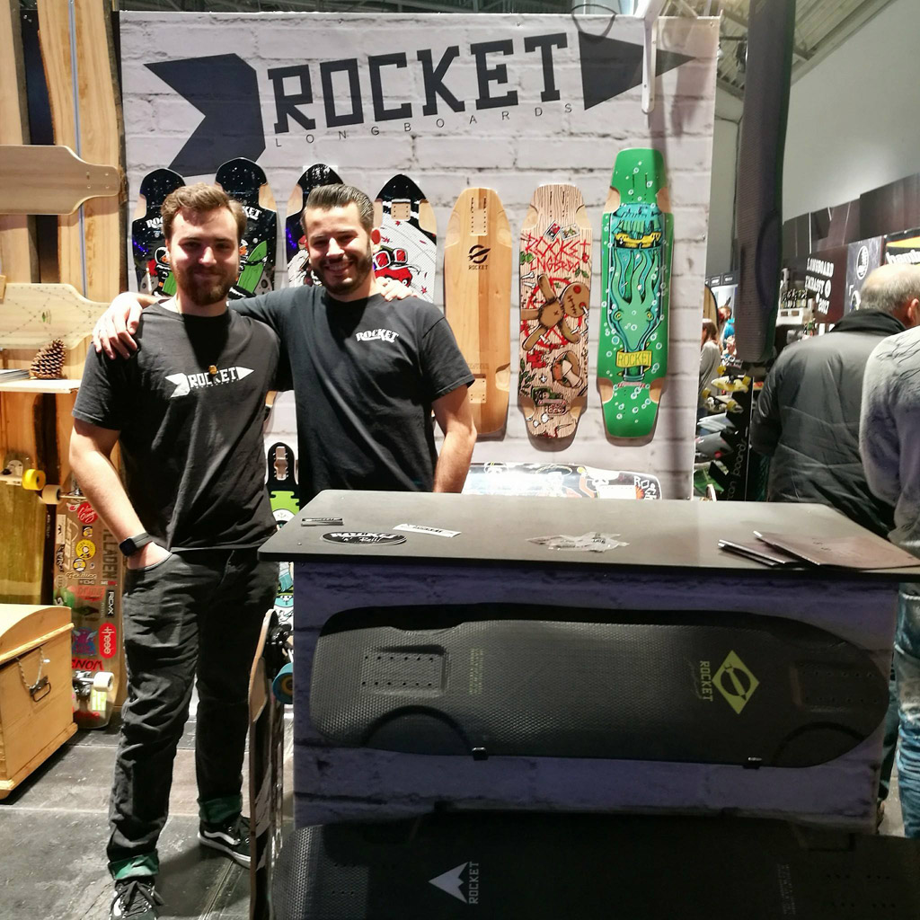 Dominic Schenk (left) with Daniel Iseli (right) at ISPO 2017