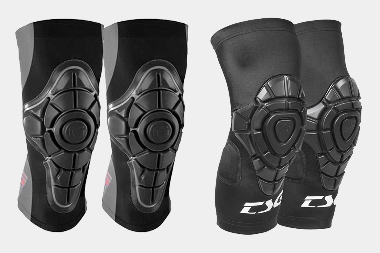 G-Form Pro X Knee Pads (left) vs. TSG Joint Knee Guards (right)