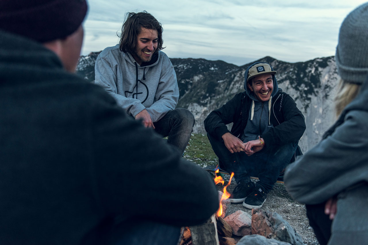 Nothing feels better after a full day of skating than hanging out with the crew by the fire. Photo by David Lugmayr.