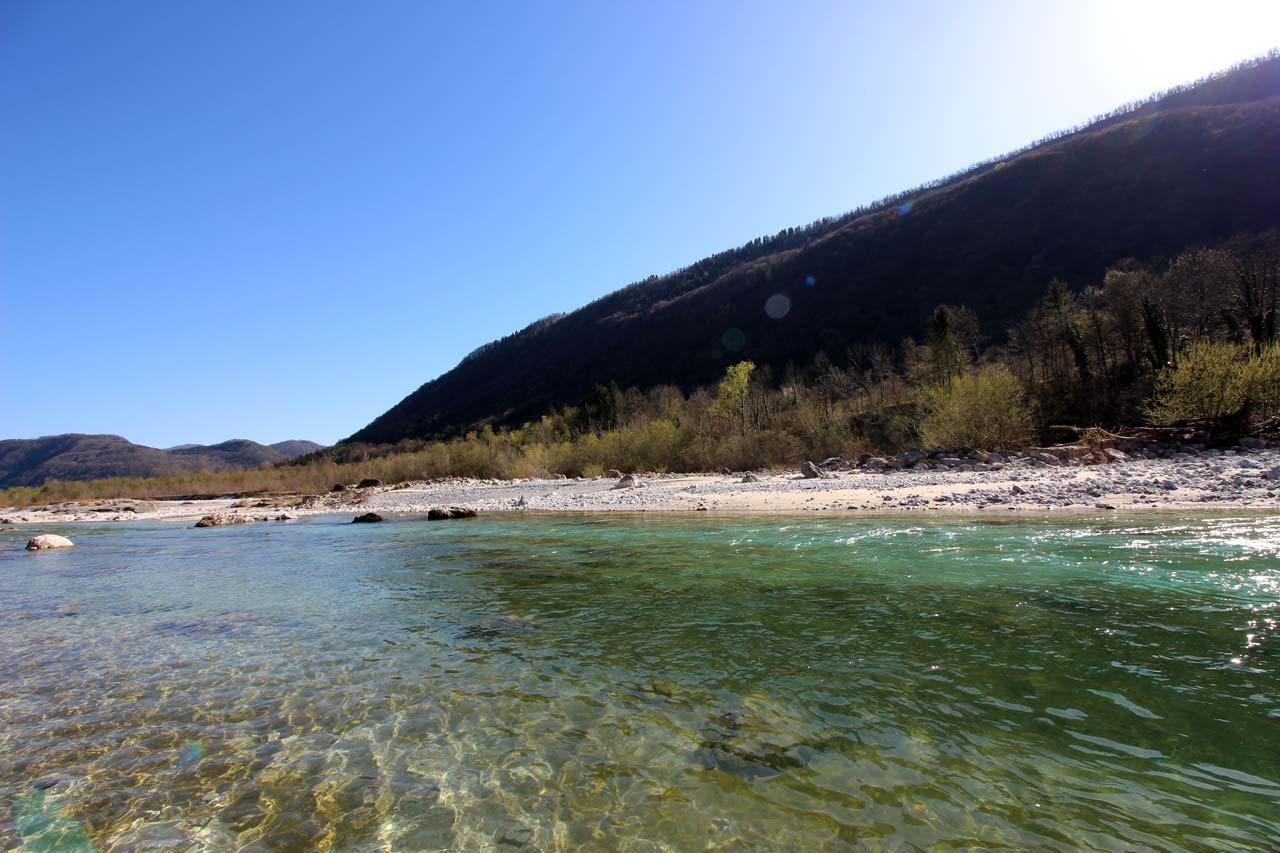 Beautiful Soča River in Camp Gabrje.