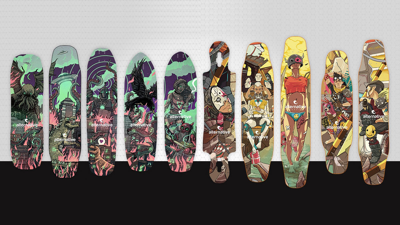 Alternative Longboards 2017 collection; Mountain Freak and City Shredder