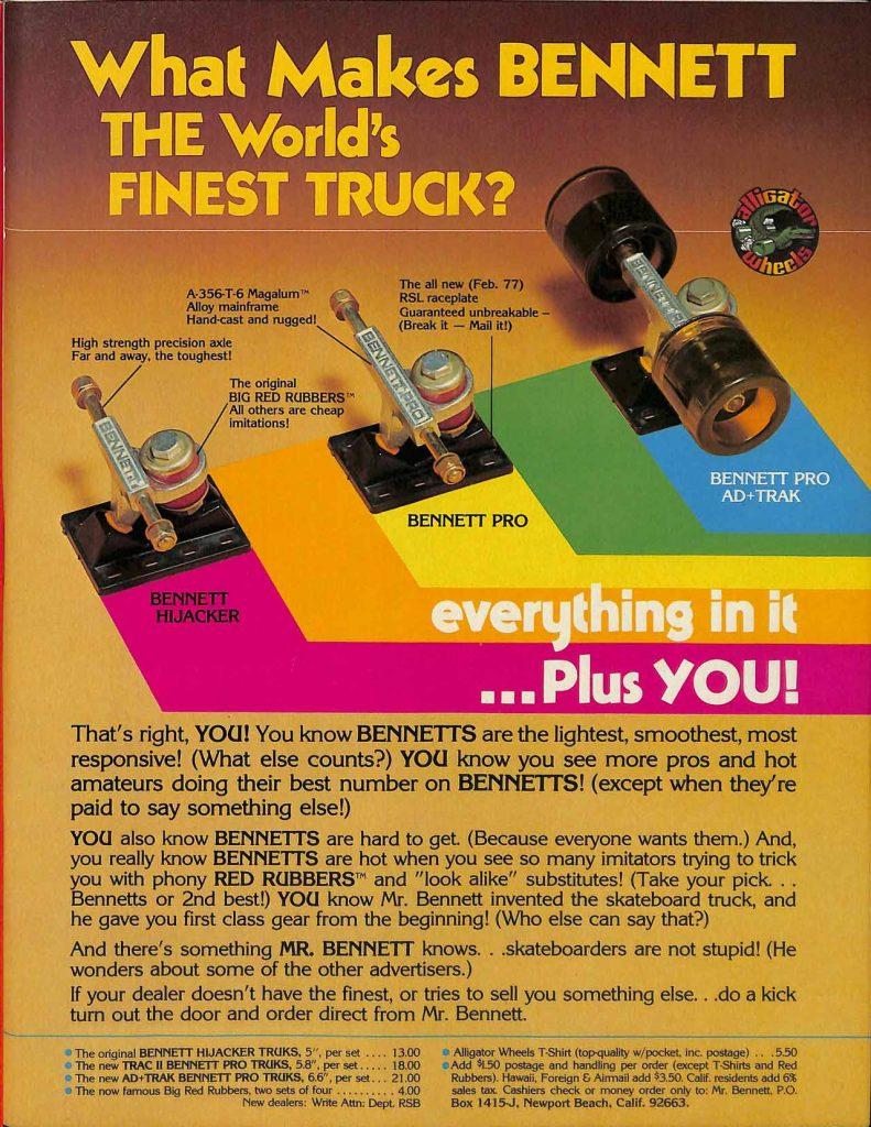 An ad for Bennett trucks from the SkateBoarder Magazine September 1977 issue
