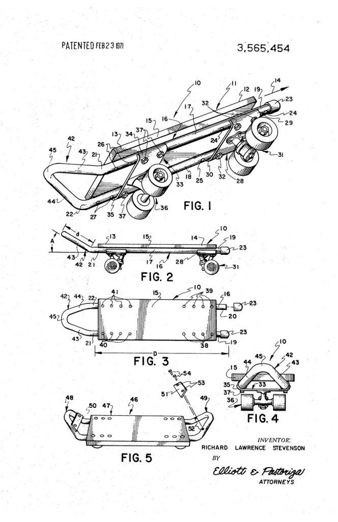 Larry Stevenson's kicktail patent
